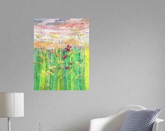 Original art piece, wild flowers embroidered fabric wall hanging.