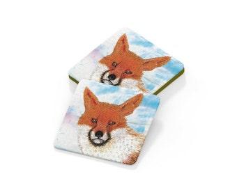 Coaster. Fox embroidery art drinks mat
