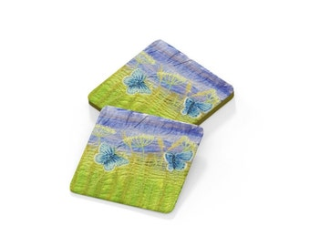 Coasters. Embroidery art print drinks mat
