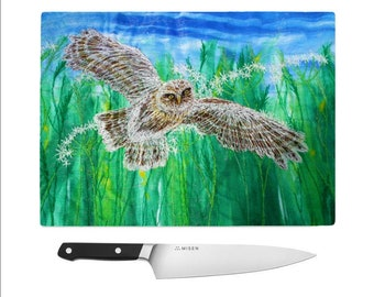 Tempered Glass Chopping Board Little owl embroidery