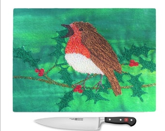 Tempered Glass Chopping Board christmas robin