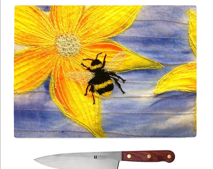Featured listing image: Tempered Glass Chopping Board Bee embroidery