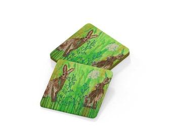 Coaster.  Hare drinks mat