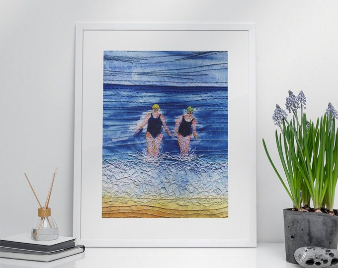 Featured listing image: Art print. Winter sea swimming friends embroidery art print.