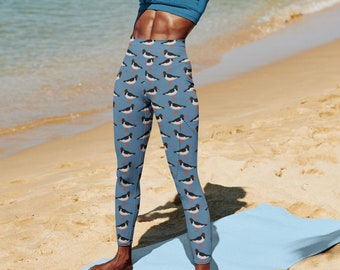High waist leggings.  Oyster catcher bird design on blue background