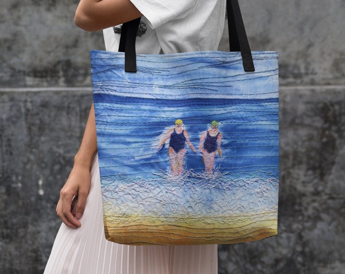 Featured listing image: Swimmers kit beach bag.  Made to order, swimming friends design.