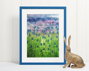 Art print. Bluebell flower embroidery art print.