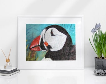 Puffin Print A4.  Embroidery art by Juliet Turnbull.