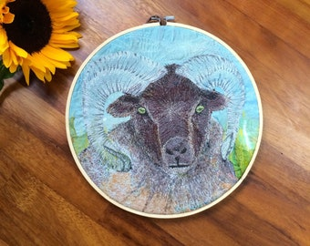 Sheep gift ,  embroidery hoop art , farmhouse decor , nature lover gift , mountain sheep, rare breed sheep art ~ farm gifts
