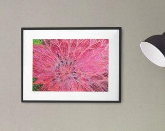 Art print. Bright pink Dahlia flower embroidery art print.