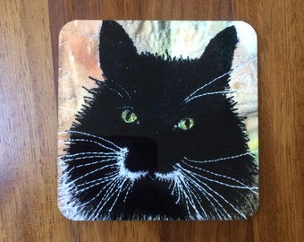 Black cat coasters ~ cat lover gifts -  crazy cat lady - animal drink coasters  ~ home decor  ~ cat print ~ animal lovers gifts for her