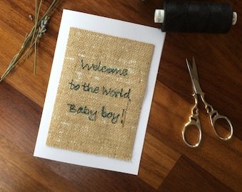 Welcome to the world baby boy greetings card
