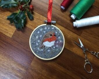 Christmas red Robin bird tree decoration