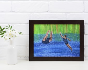 Art print picture. After swim playtime swimming friends embroidery art print.  By Juliet Turnbull