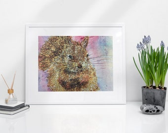 Red Squirrel Print A4. Embroidery art by Juliet Turnbull.