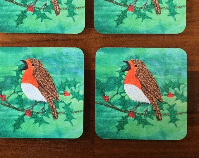 Featured listing image: limited edition Christmas Red Robin coaster