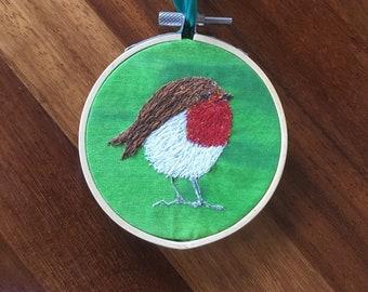 Christmas red Robin bird tree decoration 8cm hoop