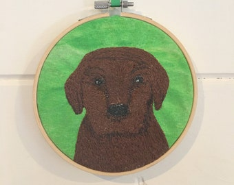 Embroidery hoop decoration.  Chocolate Labrador puppy.