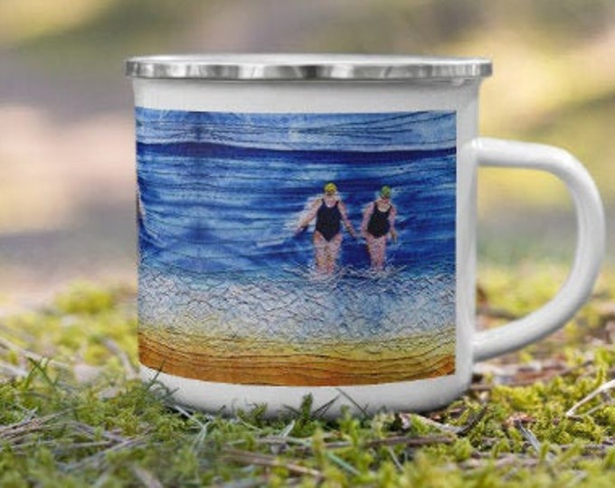 Featured listing image: Winter swimming friends embroidery art printed on enamel Mug