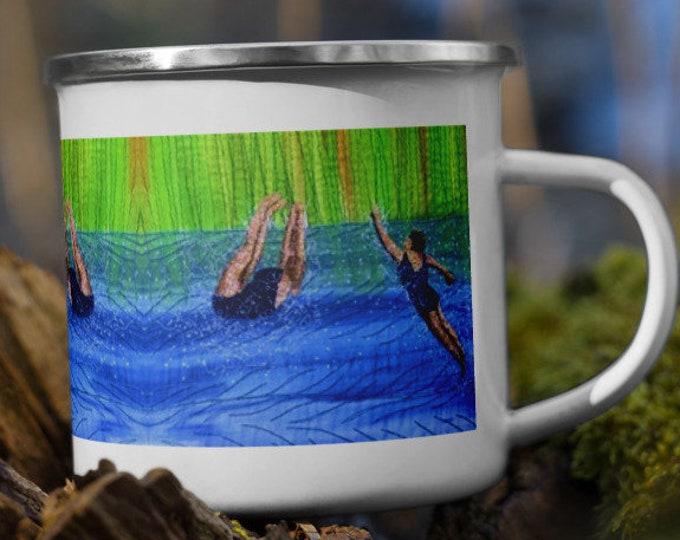 Featured listing image: After swim playtime embroidery art print on enamel Mug