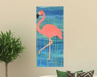 Flamingo embroidery original artwork.
