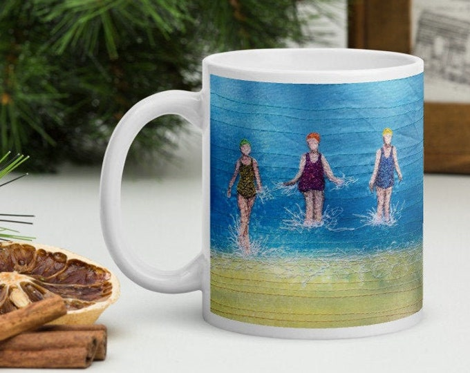Featured listing image: Ceramic Mug. Three sea swimming friends embroidery art printed  MADE TO ORDER