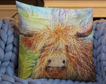 Cushion.  Highland cow embroidery art print on premium pillow