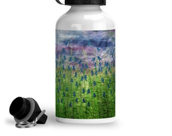 Reusable water bottle bluebell flower design