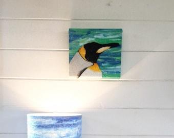 King emperor penguin embroidery art