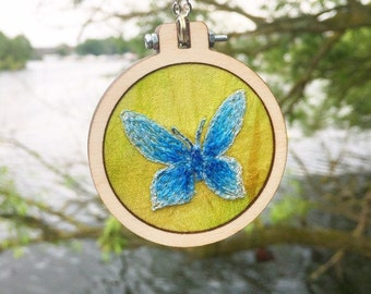 Blue butterfly embroidered necklace ~ insect lover boho nature lover gift - botanical jewellery gifts for women ~ sister  ~ jewelry gift