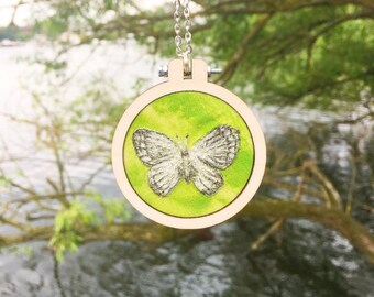 Embroidered butterfly necklace