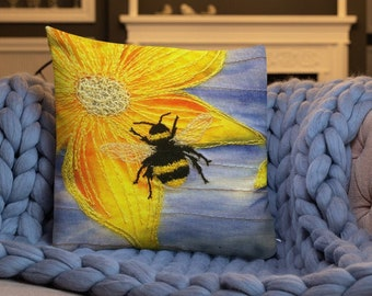 Cushion. Busy Bee embroidery art print on premium sofa pillow  By Juliet Turnbull