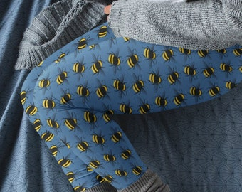 High waist leggings.  Bumble bee design on blue background