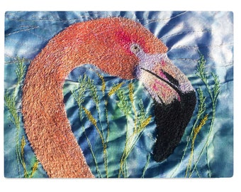 Glass chopping board Flamingo print