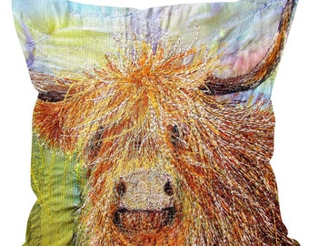 Sofa linen cushion Highland Cow embroidery art print 2 sizes available. Print on both sides.