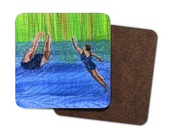 4 Pack Hardboard Coaster after swim playtime embroidery art print