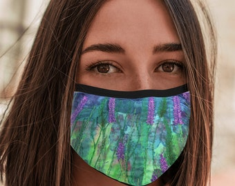 Face Mask lavender embroidery art print with elastic ear loops