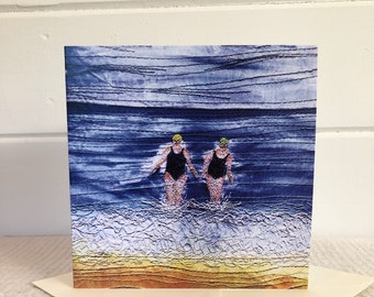 Winter swimming friends greetings cards.  Pack of 5 or singles