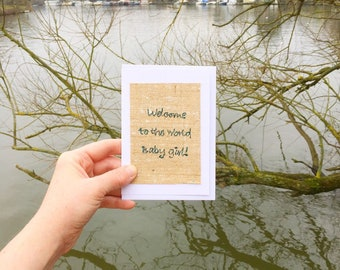 Unique welcome to the world baby girl greetings card