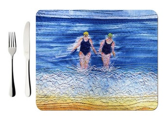 Hardboard Placemat winter sea swimmers embroidery art (single)