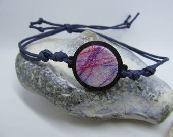 Blue, black & pink embroidered bracelet