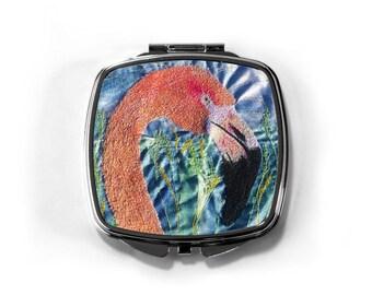 Pink Flamingo print compact mirror