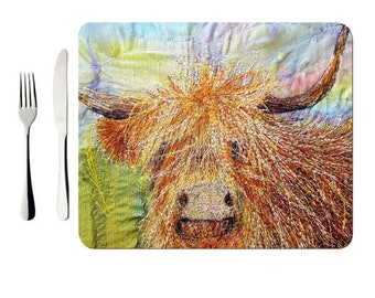 Hardboard Placemat Highland Cow print (single)