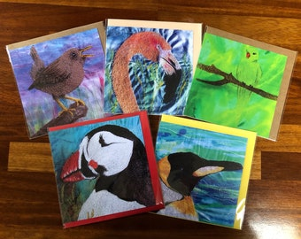 Set of 5 blank greetings cards.  Parakeet, puffin, penguin, flamingo and wren collection