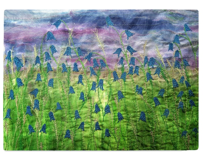 Featured listing image: Tempered Glass Chopping Board bluebell flowers print