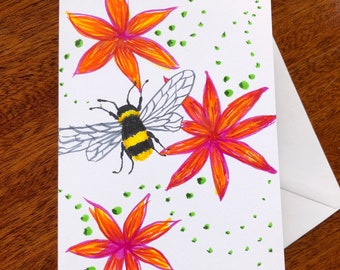 Bee and flowers doodle card.  Blank inside.  A6 size