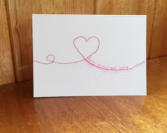 Happy Valentines Day handmade and embroidered Valentine's Day card for him or her.  BLANK INSIDE