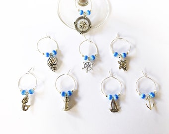 Nautical Wine Glass Charms (set of 8)