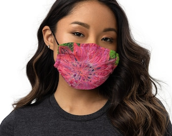 Bright pink Dahlia flower embroidery art print on to premium face mask with adjustable strap MADE TO ORDER