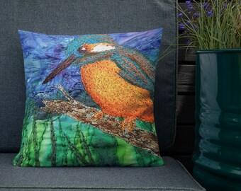 Kingfisher river bird embroidery art print on premium chair cushion